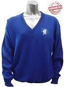Pershing Angels V-Neck Sweater with Crest, Royal Blue