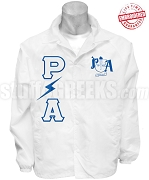 Pershing Angels Lightening Greek Letter Line Jacket with Crest, White