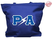 Pershing Angels Tote Bag with Lightning Greek Letters, Royal Blue