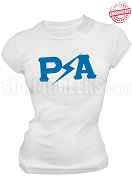 Pershing Angels Lightning Greek Letter T-Shirt, White - EMBROIDERED with Lifetime Guarantee
