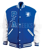 Pershing Angels Varsity Letterman Jacket with Lightening Greek Letters and Crest, Royal Blue/White