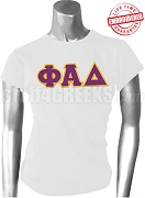 Phi Alpha Delta Ladies Greek Letter T-Shirt, White - EMBROIDERED with Lifetime Guarantee