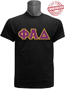 Phi Alpha Delta Men's Greek Letter T-Shirt, Black - EMBROIDERED with Lifetime Guarantee
