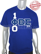 Phi Beta Sigma 100 Years T-Shirt, Royal Blue - EMBROIDERED with Lifetime Guarantee