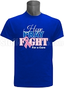 Phi Beta Sigma Hope, Pray, Fight Breast Cancer Awareness Screen Printed T-Shirt, Royal Blue