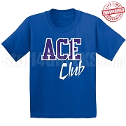 Ace Club T-Shirt, Royal/White - EMBROIDERED with Lifetime Guarantee