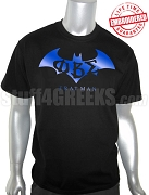 Phi Beta Sigma Batman T-Shirt with Greek Letters, Black - EMBROIDERED with Lifetime Guarantee