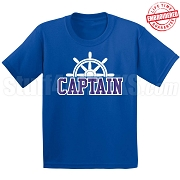 Captain T-Shirt, Royal/White - EMBROIDERED with Lifetime Guarantee
