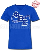 Phi Beta Sigma Centennial Banner V-Neck Shirt, Royal Blue - EMBROIDERED with Lifetime Guarantee