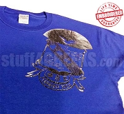 Phi Beta Sigma Metallic Foil Crest T-Shirt, Royal Blue Shirt with Silver Crest - EMBROIDERED with Lifetime Guarantee