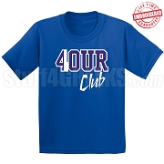 4/Four Club T-Shirt, Royal/White - EMBROIDERED with Lifetime Guarantee