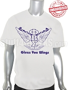 Phi Beta Sigma Wings T-Shirt, White - EMBROIDERED with Lifetime Guarantee