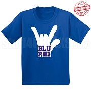 Blu Phi Hand T-Shirt, Royal - EMBROIDERED with Lifetime Guarantee