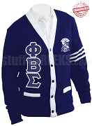 Phi Beta Sigma Greek Letter Cardigan with Crest and White Stripes, Royal Blue (A+)