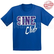 9/Nine Club T-Shirt, Royal/White - EMBROIDERED with Lifetime Guarantee
