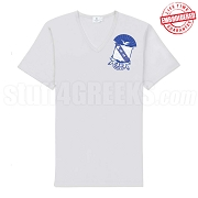 Sigma Shield V-Neck T-Shirt, White - EMBROIDERED with Lifetime Guarantee