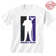 Sigma Man Silhouette T-Shirt, White - EMBROIDERED with Lifetime Guarantee
