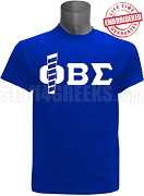 Phi Beta Sigma T-Shirt with Staff, Royal Blue - EMBROIDERED with Lifetime Guarantee