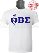 Phi Beta Sigma T-Shirt with Staff, White - EMBROIDERED with Lifetime Guarantee