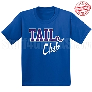 Tail Club T-Shirt, Royal/White - EMBROIDERED with Lifetime Guarantee