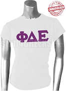 Phi Delta Epsilon Ladies Greek Letter T-Shirt, White - EMBROIDERED with Lifetime Guarantee