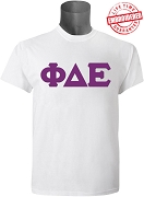 Phi Delta Epsilon Men's Greek Letter T-Shirt, White - EMBROIDERED with Lifetime Guarantee
