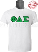 Phi Delta Sigma Greek Letter T-Shirt, White - EMBROIDERED with Lifetime Guarantee