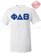 Phi Delta Theta Greek Letter T-Shirt, White - EMBROIDERED with Lifetime Guarantee