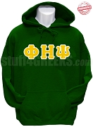 Phi Eta Psi Greek Letter Pullover Hoodie Sweatshirt, Kelly Green