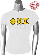 Phi Eta Sigma Ladies Greek Letter T-Shirt, White - EMBROIDERED with Lifetime Guarantee