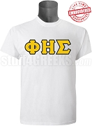 Phi Eta Sigma Men's Greek Letter T-Shirt, White - EMBROIDERED with Lifetime Guarantee