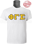Phi Gamma Sigma Men's Greek Letter T-Shirt, White/Gold - EMBROIDERED with Lifetime Guarantee