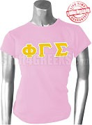 Phi Gamma Sigma Greek Letter T-Shirt, Pink - EMBROIDERED with Lifetime Guarantee