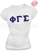 Phi Gamma Sigma Ladies Greek Letter T-Shirt, White - EMBROIDERED with Lifetime Guarantee
