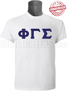 Phi Gamma Sigma Men's Greek Letter T-Shirt, White - EMBROIDERED with Lifetime Guarantee