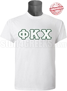 Phi Kappa Chi Greek Letter T-Shirt, White - EMBROIDERED with Lifetime Guarantee