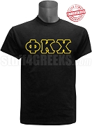 Phi Kappa Chi Greek Letter T-Shirt, Black - EMBROIDERED with Lifetime Guarantee