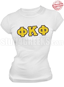 Phi Kappa Phi Ladies Greek Letter T-Shirt, White - EMBROIDERED with Lifetime Guarantee
