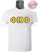 Phi Kappa Phi Men's Greek Letter T-Shirt, White - EMBROIDERED with Lifetime Guarantee