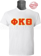 Phi Kappa Theta Greek Letter T-Shirt, White - EMBROIDERED with Lifetime Guarantee