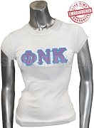 Phi Nu Kappa T-Shirt with Greek Letters, White - EMBROIDERED with Lifetime Guarantee
