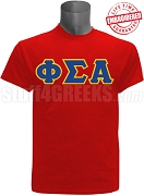 Phi Sigma Alpha Greek Letter T-Shirt, Red - EMBROIDERED with Lifetime Guarantee