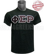 Phi Sigma Rho Greek Letter T-Shirt, Black - EMBROIDERED with Lifetime Guarantee