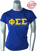 Phi Sigma Sigma T-Shirt with Greek Letters, Royal Blue -  EMBROIDERED with Lifetime Guarantee