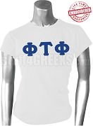 Phi Tau Phi Ladies Greek Letter T-Shirt, White - EMBROIDERED with Lifetime Guarantee