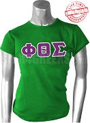 Phi Theta Sigma Greek Letter T-Shirt, Kelly Green - EMBROIDERED with Lifetime Guarantee