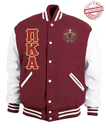 Pi Kappa Alpha Varsity Letterman Jacket with Greek Letters and Crest, Crimson Red/White