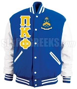 Pi Kappa Phi Varsity Letterman Jacket with Greek Letters and Crest, Royal Blue/White