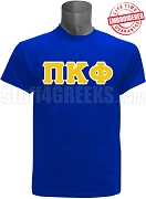 Pi Kappa Phi Greek Letter T-Shirt, Royal Blue - EMBROIDERED with Lifetime Guarantee