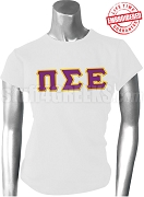 Pi Sigma Epsilon Ladies Greek Letter T-Shirt, White - EMBROIDERED with Lifetime Guarantee